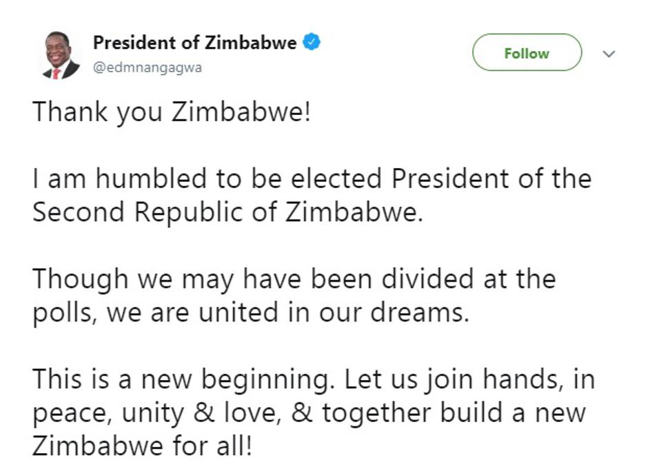 Mnangagwa Twitter | Author: Screenshot/Twitter
