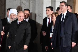 Posjet Vladimira Putina Beogradu, siječanj 2019., s njim su Irinej i Aleksandar Vučić