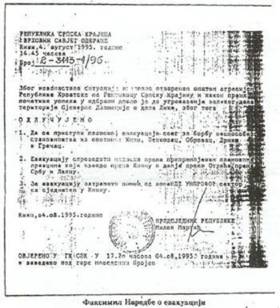 Odluka Mile Martića o evakuaciji Srba iz Krajine | Author: screenshot/youtube