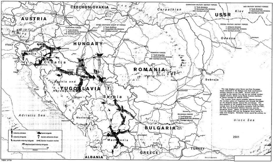 CIA, karta sovjetskog napada na Jugoslaviju | Author: public domain
