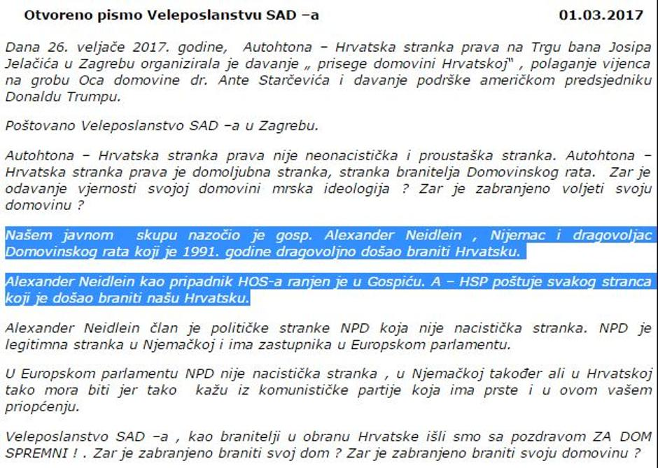 Priopćenje A-HSP američkom veleposlanstvu | Author: screenshot/youtube