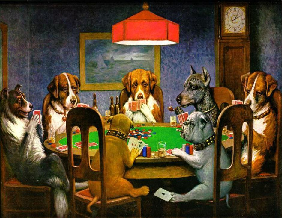 Dogs Playing Poker | Author: Cassius Marcellus Coolidge/screensho