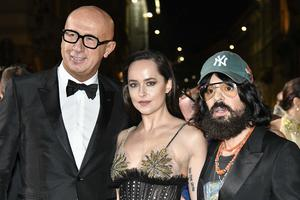 Marco Bizzarri Dakota Johnson and Alessandro Michele