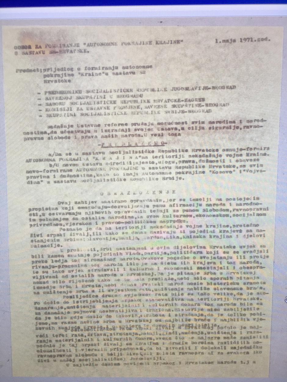 Dokument koji je najavio agresiju na Hrvatsku | Author: screenshot