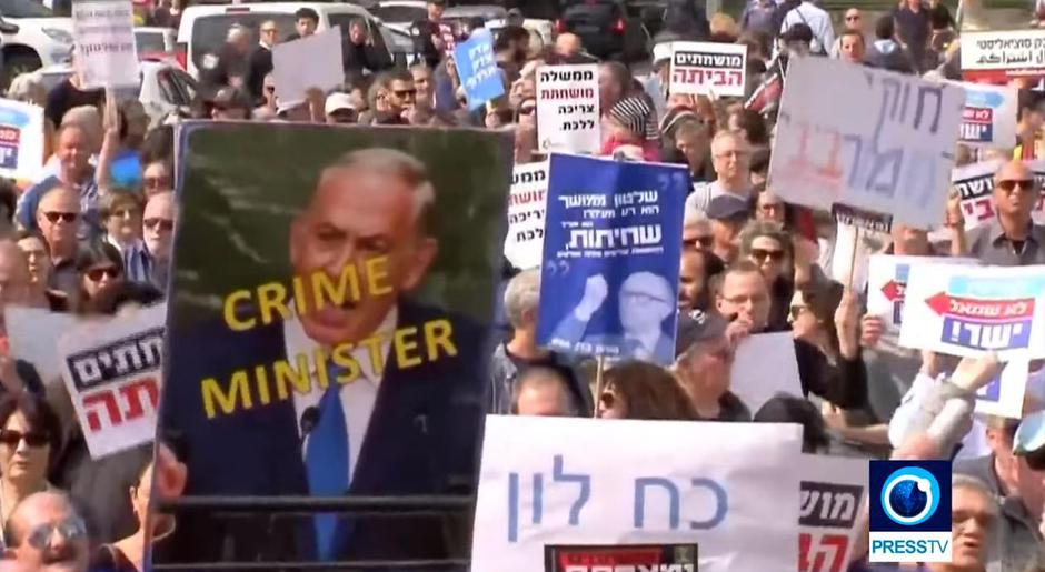"Benjamin Netanyahu kao ""crime minister"" 