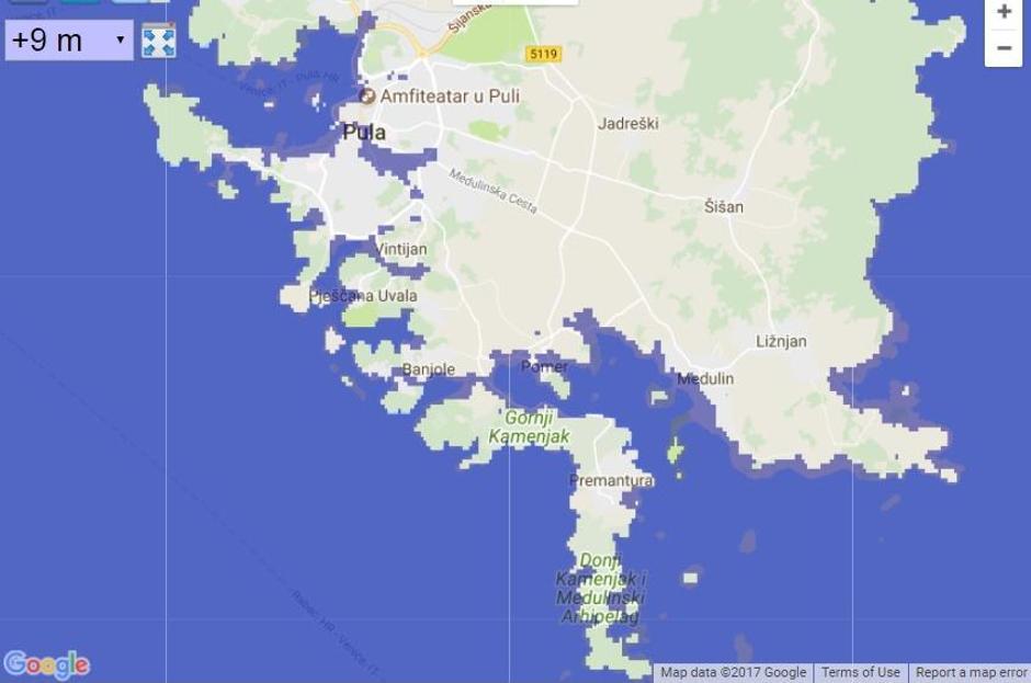 Rast mora od 9 metara po jadranskim gradovima | Author: Google Earth